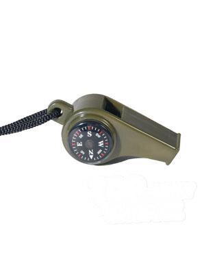 Survival píšťalka s kompasom a teplomerom Mil-Tec® - olív