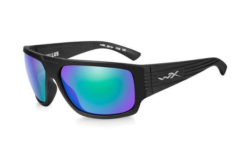 Slnečné okuliare Wiley X® Vallus - rámik čierny, modré zrkadlové šošovky Emerald Amber polarizované (Farba: Čierna, Šošovky: Modré zrkadlové Emerald A