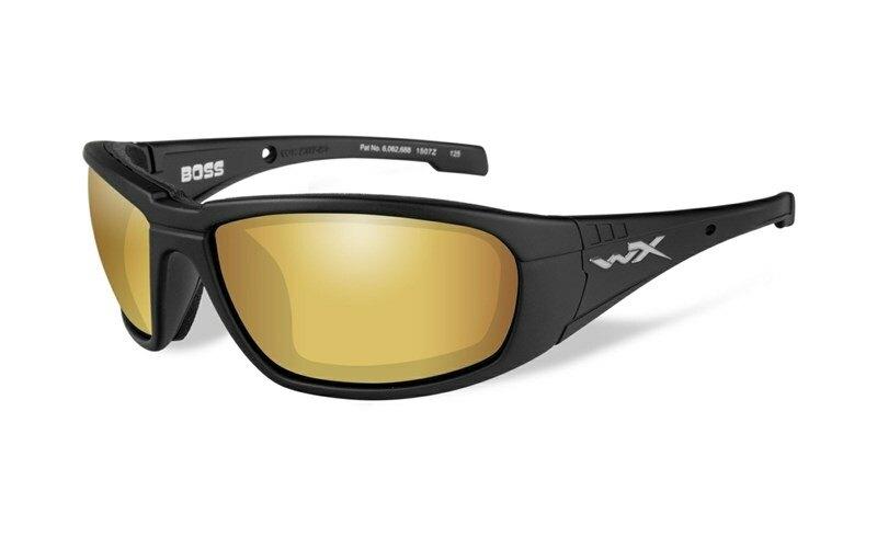 Slnečné okuliare Wiley X® Boss - rámik čierny, zlaté zrkadlové šošovky Amber polarizované (Farba: Čierna, Šošovky: Zlaté zrkadlové Amber polarizované)