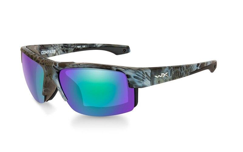 Slnečné okuliare Wiley X® Compass - rámček Kryptek Neptune™, modré zrkadlové šošovky Emerald Amber polarizované (Farba: Kryptek Neptune™, Šošovky: Mod