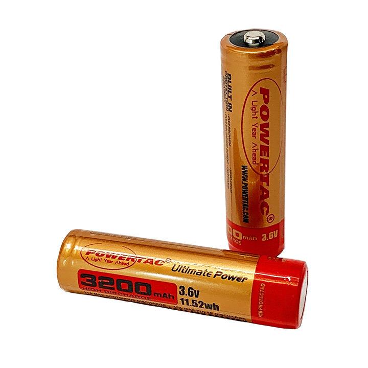 Dobíjecí baterie High Discharge 18650 ( 3200mAh ) PowerTac® – Zlatá (Farba: Zlatá)