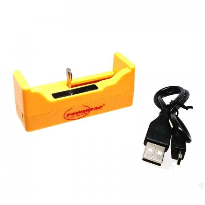 USB nabíjačka Powertac Single Bay (18650, RCR123A) (Farba: Žltá)