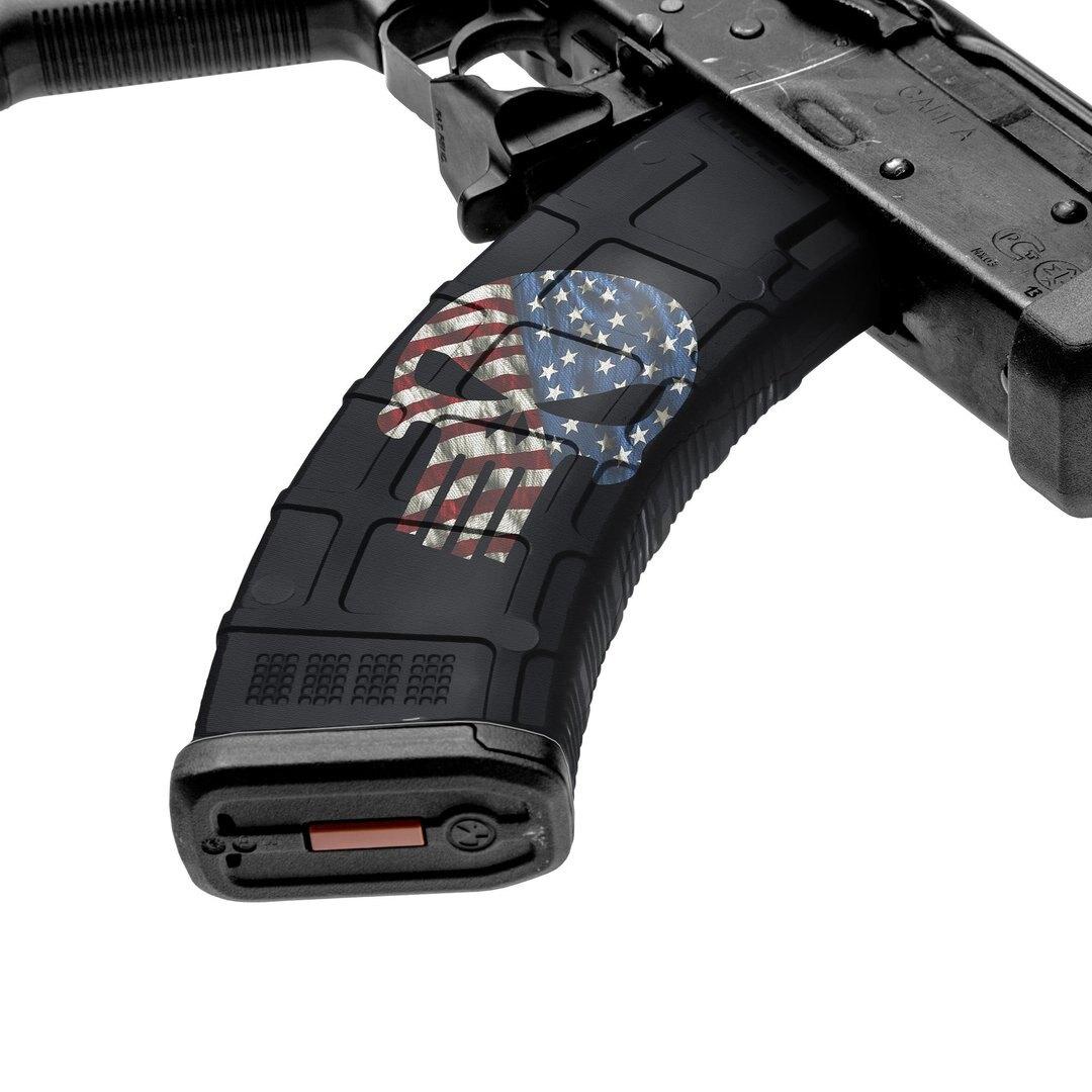 GunSkins® prémiový vinylový skin na zásobník AK-47 – GS SKull America (Farba: GS SKull America)