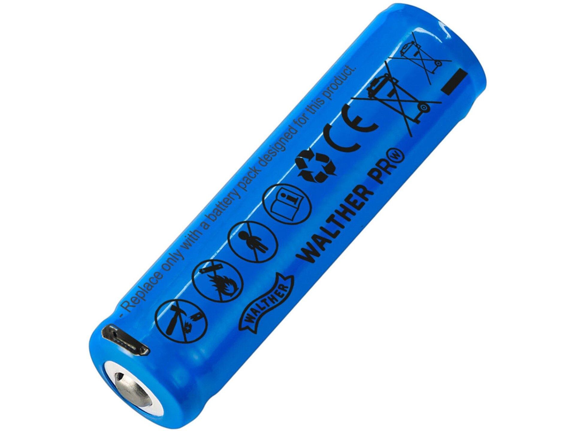 Nabíjacia batéria ICR18650 Li-lon / 2 600 mAh / 3,6 V Walther® (Farba: Modrá)
