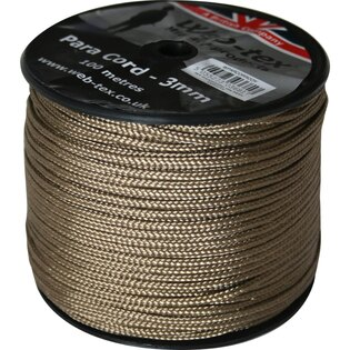 Para Cord Web-tex® 3 mm, 100 metrů - coyote